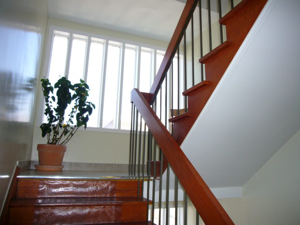 Indoor staircase with floor plant at the Gerstein Crisis Centre Bloor Street West location.