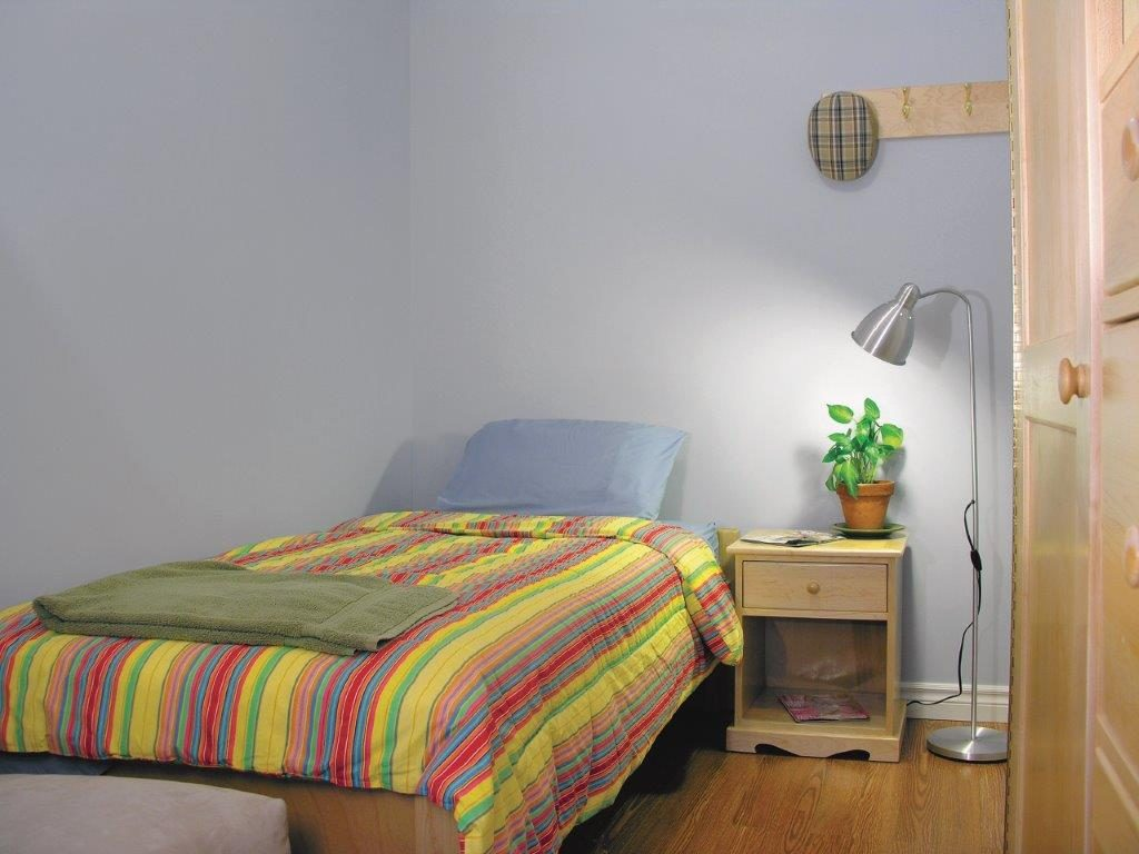 One of the bedrooms at Gerstein Crisis Centre.