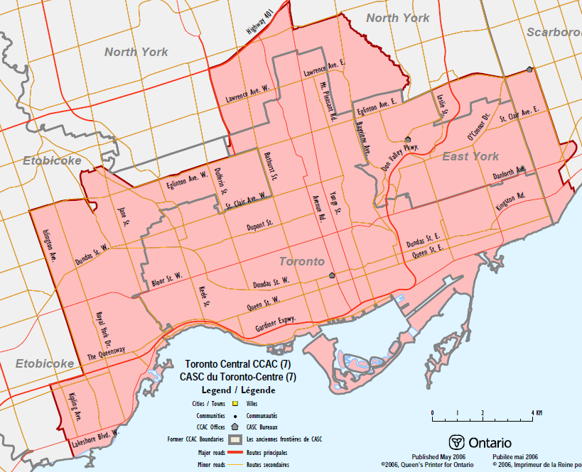 Map of Toronto Central Local Integration Health Network catchment area.